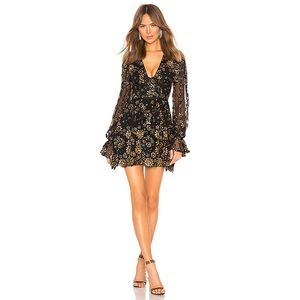 X by NBD Journey Mini Dress Gold Black Sequins XS